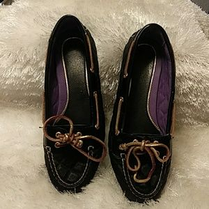 Sperry black quilted loafer size 8M